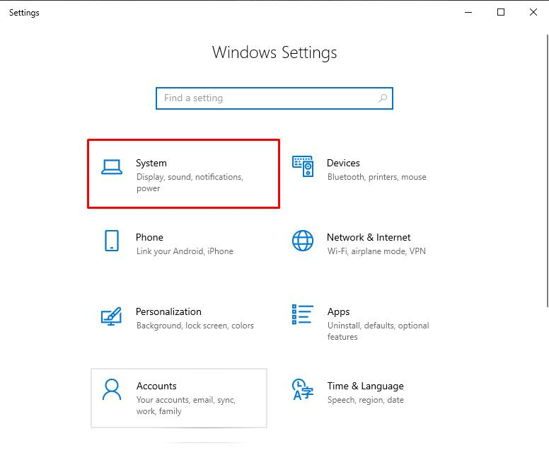 Open Windows Settings and click on System