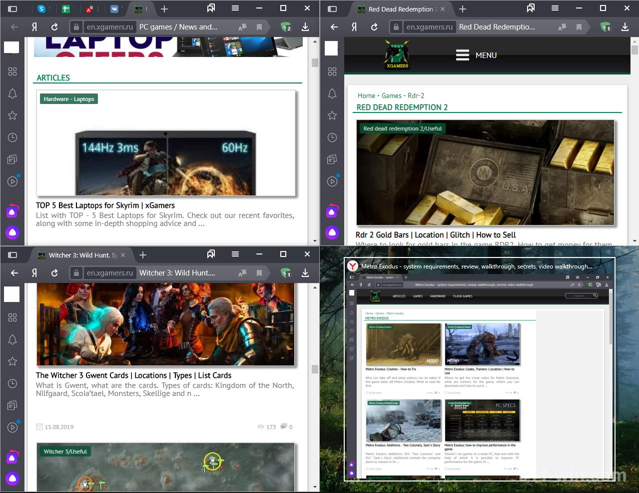 An example of what a split screen looks like in 4 parts in Windows 10