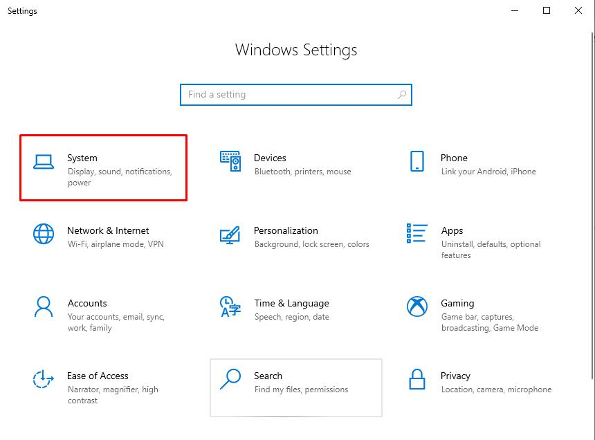 How to rotate the screen on Windows 10: Open windows Settings and select System