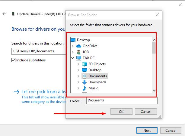 Click Browse button and find unpacked folder with drivers