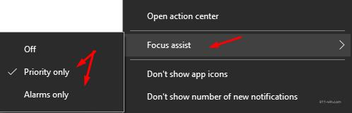 To activate (Focus Assist) you need right-click on notification center