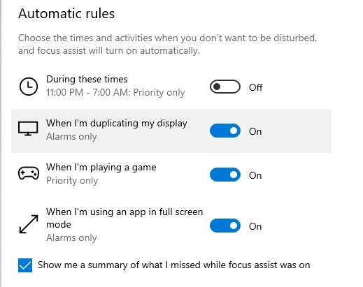 Windows 10 Automatic rules showing notification