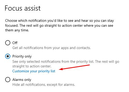 Setting up the «Focus Assist» - customize your priority list