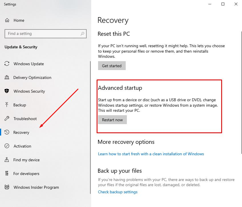 Switching to Windows Recovery Environment