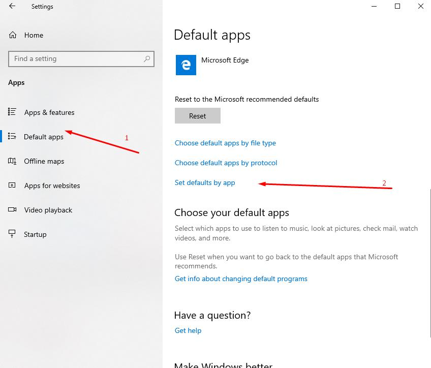 In Settings open Default apps - and then - Set default apps
