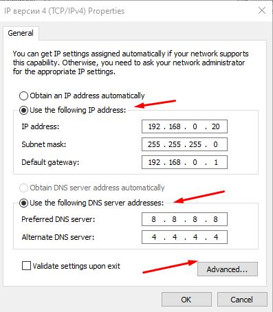 Select (Use the following IP address) and input your IP configuration