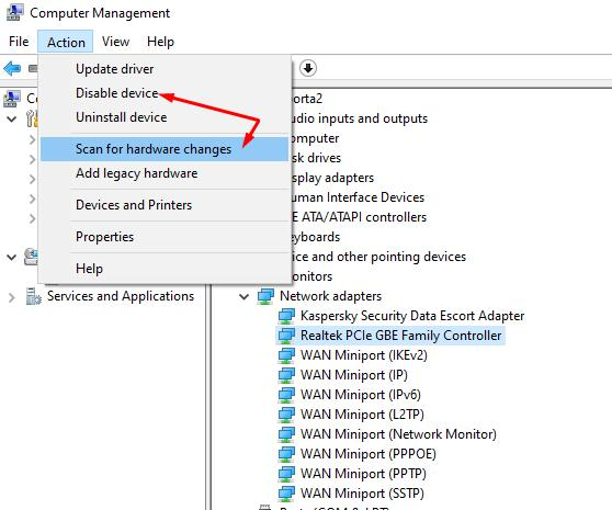 Try to manually remove the network adapter from device Manager, then click on the Scan for hardware changes