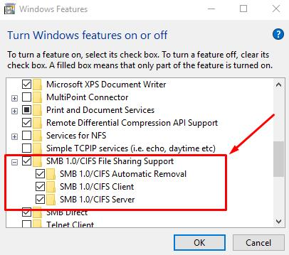 In Programs and Geatures - Select - Turn Windows Features On or Off
