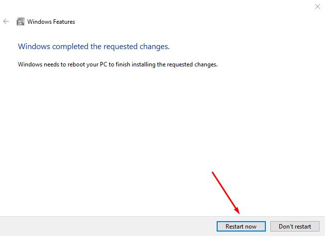 Confirm to reboot system - click Restart now