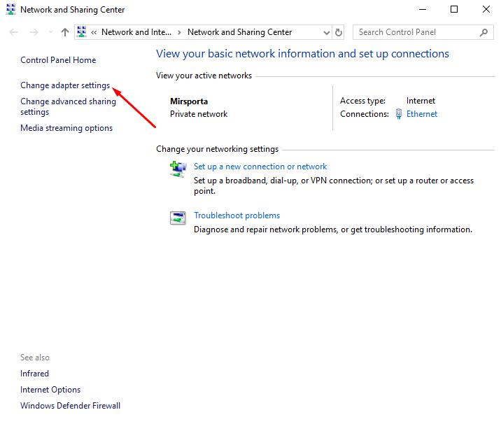 Network and Sharing Center: Change adapter settings