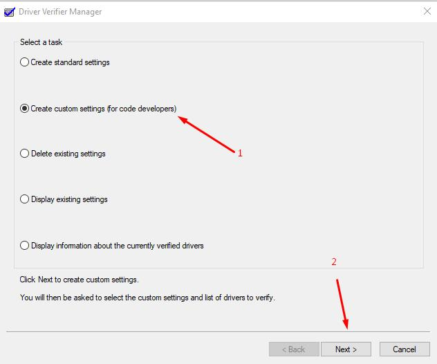 Standart utility: Driver Verifiier Manager - Create custom settings