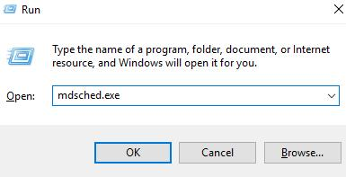Input and execute the command: mdsched.exe