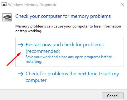 Check your computer for memory problems: restart now and check for problems