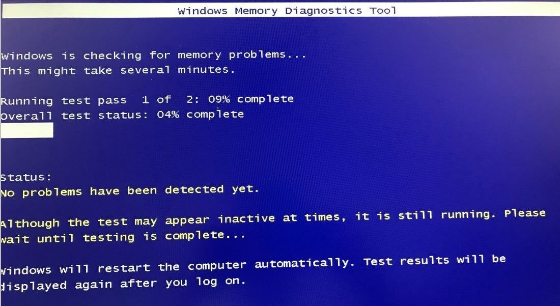 Process checking RAM memory