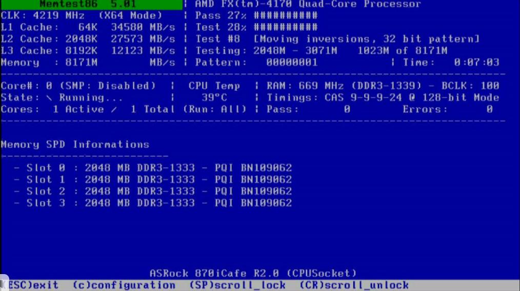Checking RAM memory with Memtest86 programm