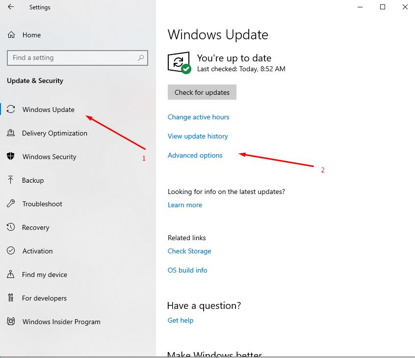 Select - Windows Update and click - Advanced options