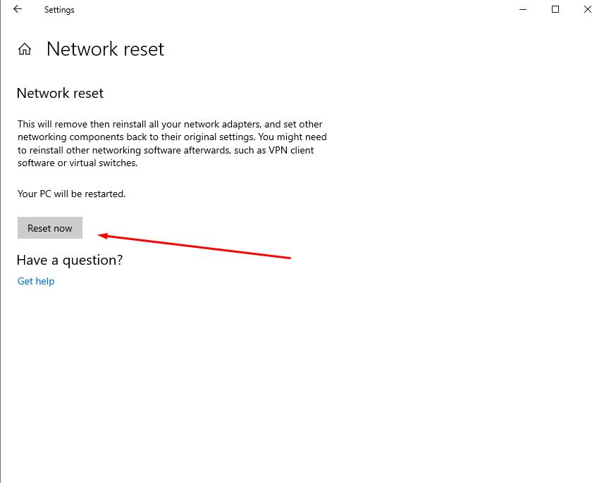 Confirm Network reset to click Reset now button