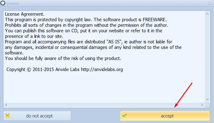Next, agree to the terms of the license agreement by clicking on Accept button;