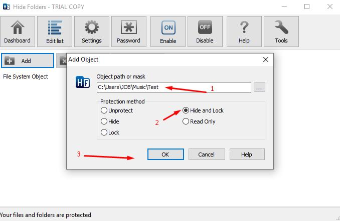 Select the folder you need and check the box in your preferred protection method