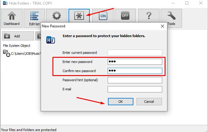 Setting the access key to the program functionality