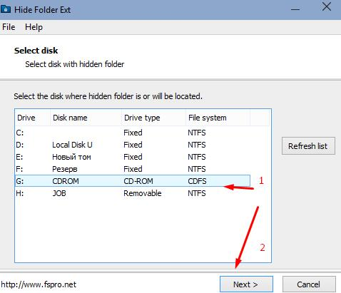 Hide Folder Ext - lock a folder on removable media