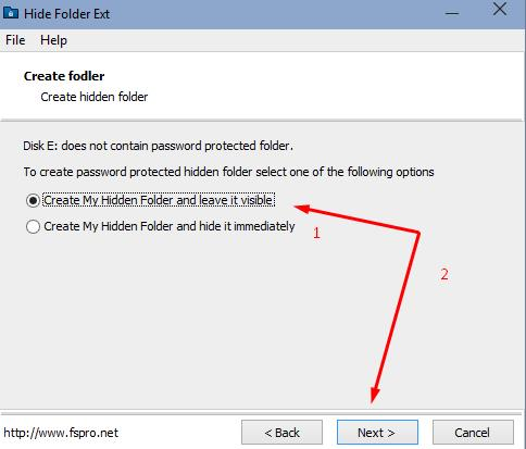 Hide Folder Ext - select options to encrypt the desired folder
