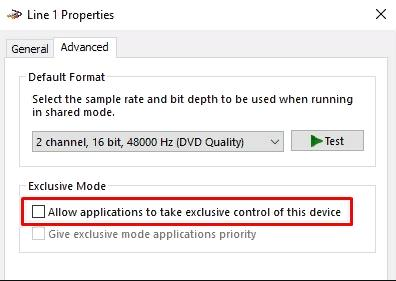 Then  click the (Advanced) tab and uncheck the lines: Allow applications to take exclusive control of this device