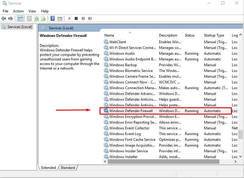 Find Service: Windows Defender Firewall
