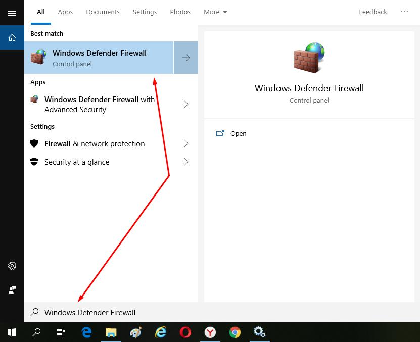 Open Windows Defender FireWall app