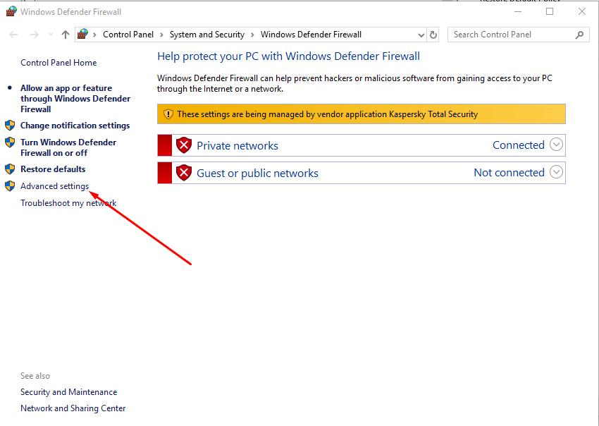 Open Advanced settings Windows Firewall