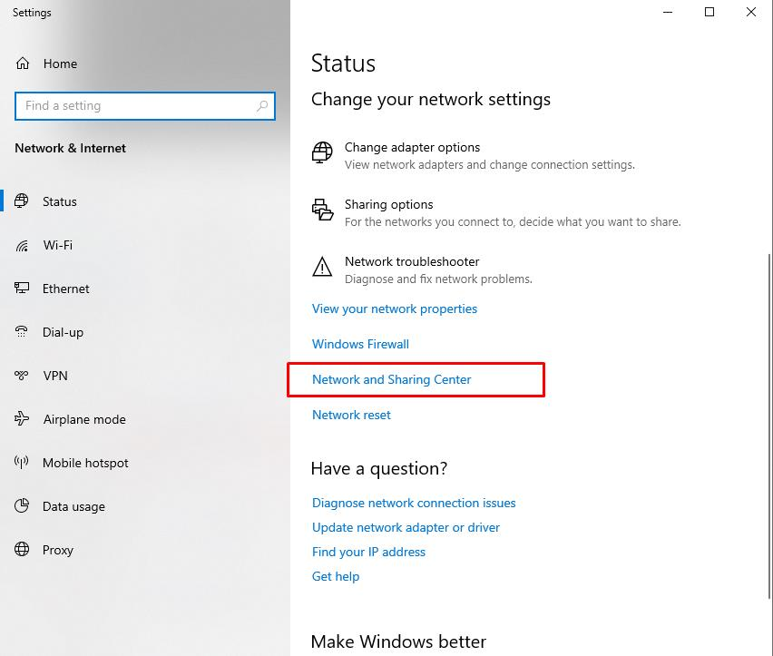 In settings window click in Network and Sharing Center