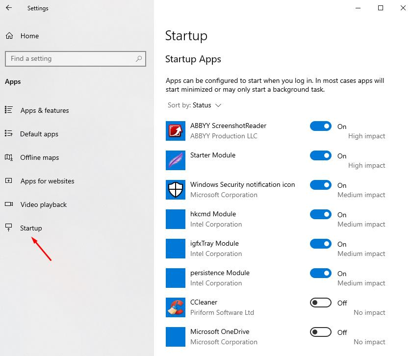 In Startup setings you can: set apps startup when you log in