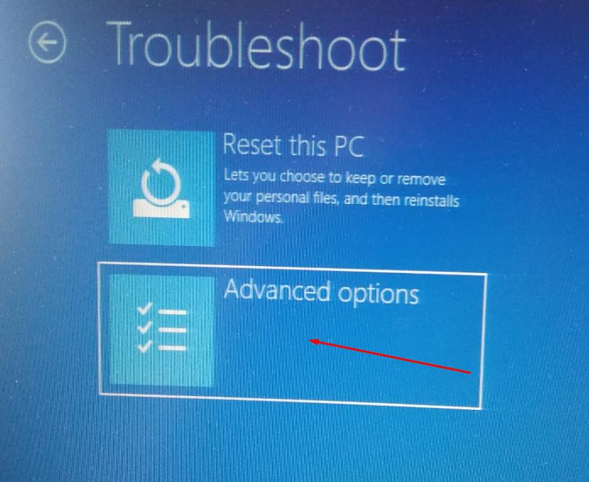 In Troubleshoot click on advanced options