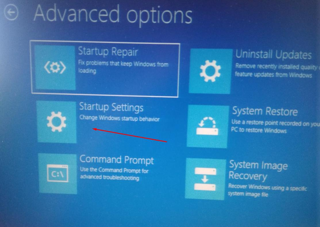 In Advanced options select Startup Repair