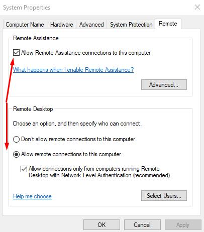 In previous Windows versions open PC Properties and open Remote tab and select this options