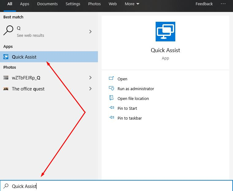 Windows 10 - Quick Assist to connect to Remote Desktop
