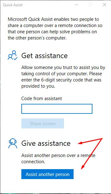 Select Give assistance and click Assist another person