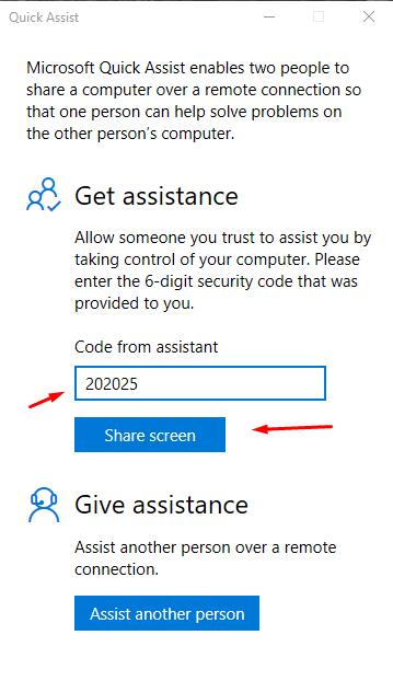 Input Code from Assistant and click (Share screen) button