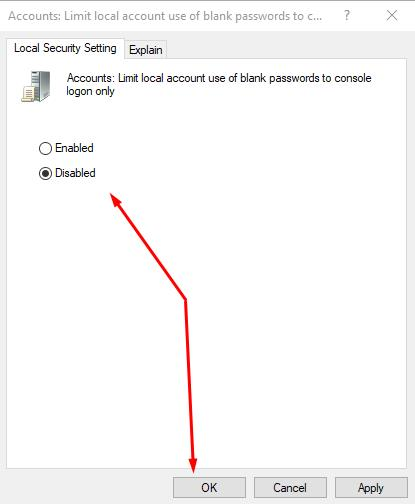 Accounts: limit local accounts use of bank passwords to connect: disable this policy