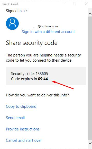 Quick Assist - Share security code