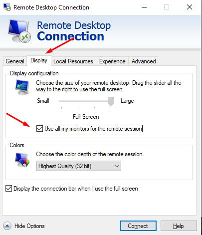 In Display settings select: Use all my monitors for the remote session