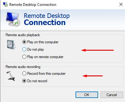 Settings audio and remote audio recording for RDP connection