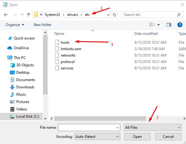 Next, open the location of the file (hosts), selecting the display in the editor - All files