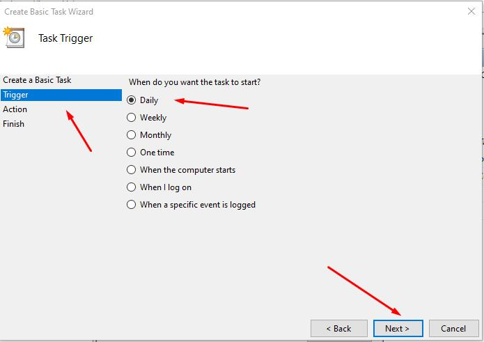 Select trigger in new Task - Daily and click Next button