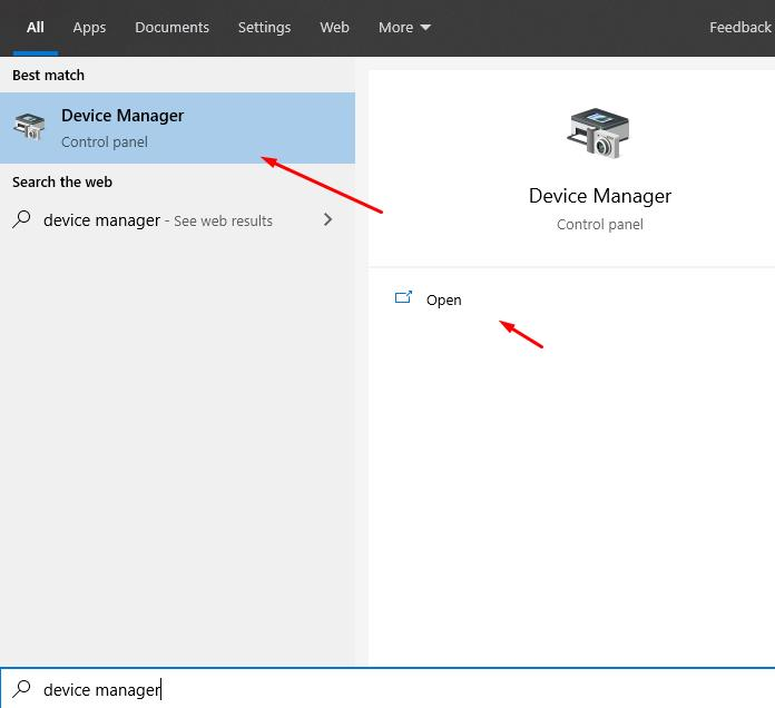 How to open Device Manager via search box