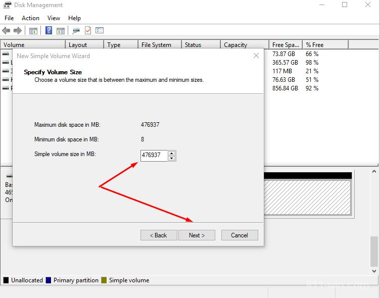 Create New Simple Volume Wizard Set Simple Volume size in MB and click Next button