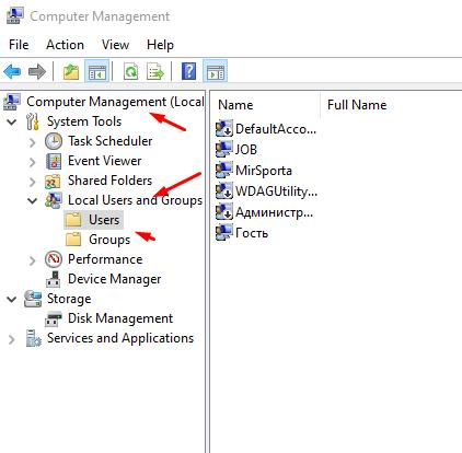 Open Computer Management, then open Local users and groups and click on Users