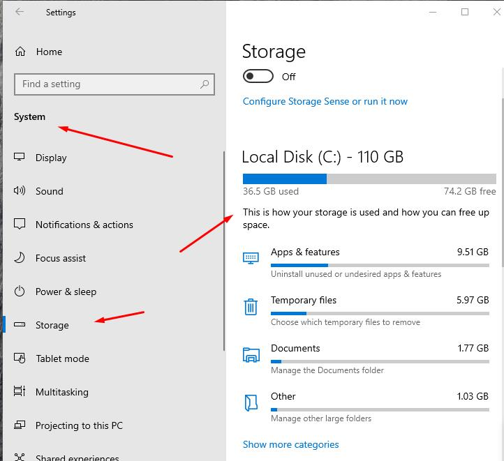 Missing Internal Hard Drive Space Windows 10 - pay attention to categories of files