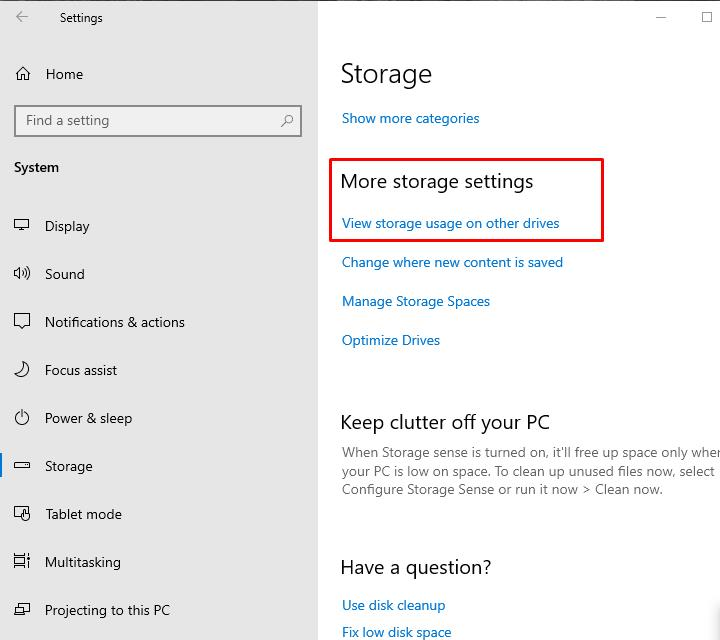 In Windows Settings click on the button: View storage usage on other drives