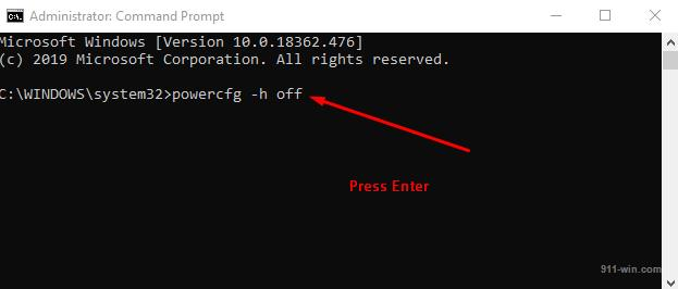 Command how to disable hibernation with Command Prompt